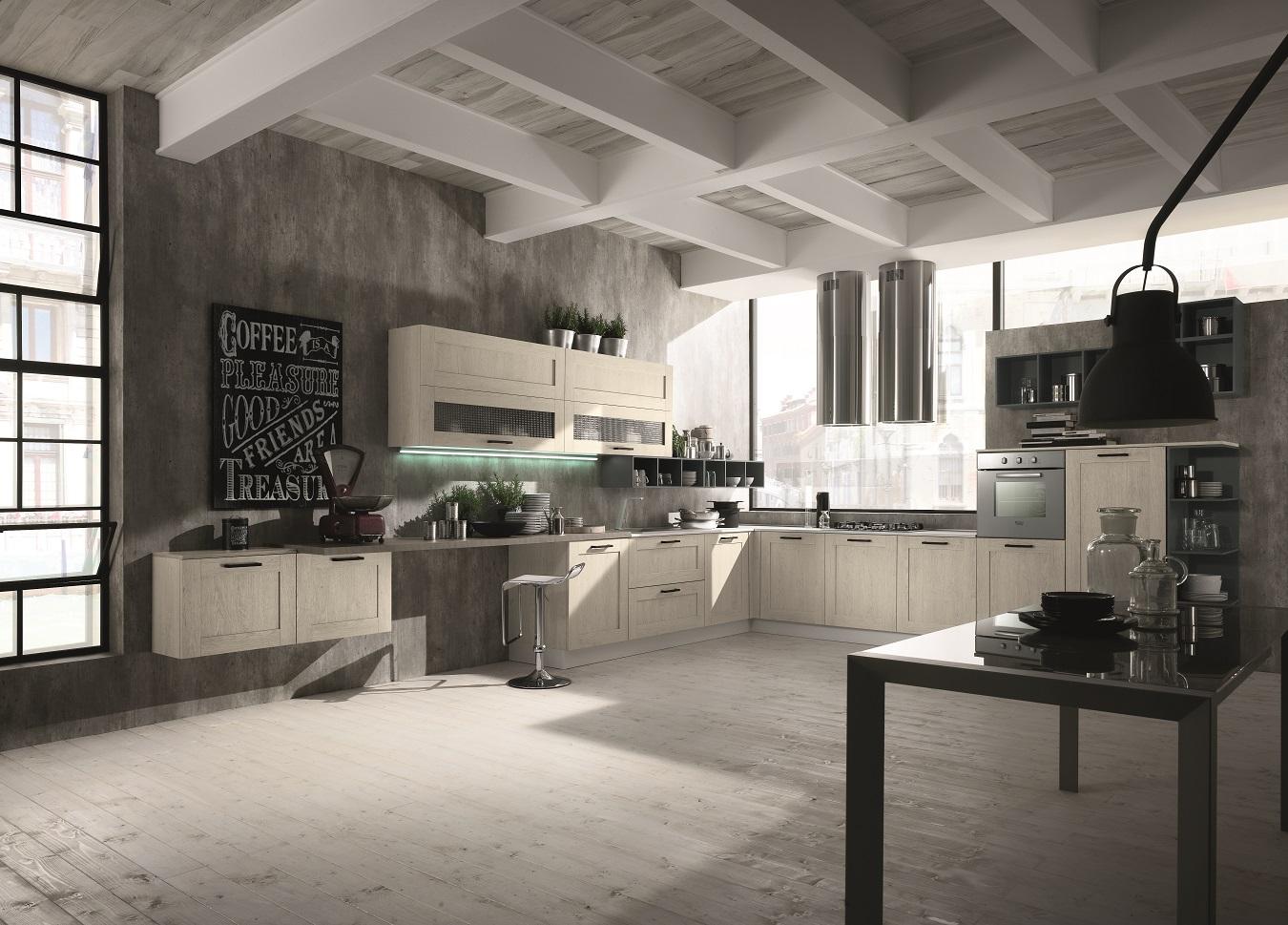 Cucina anta a telaio urban style arredook ardea arredamento casa cucine camere letti divani - Cucine urban style ...