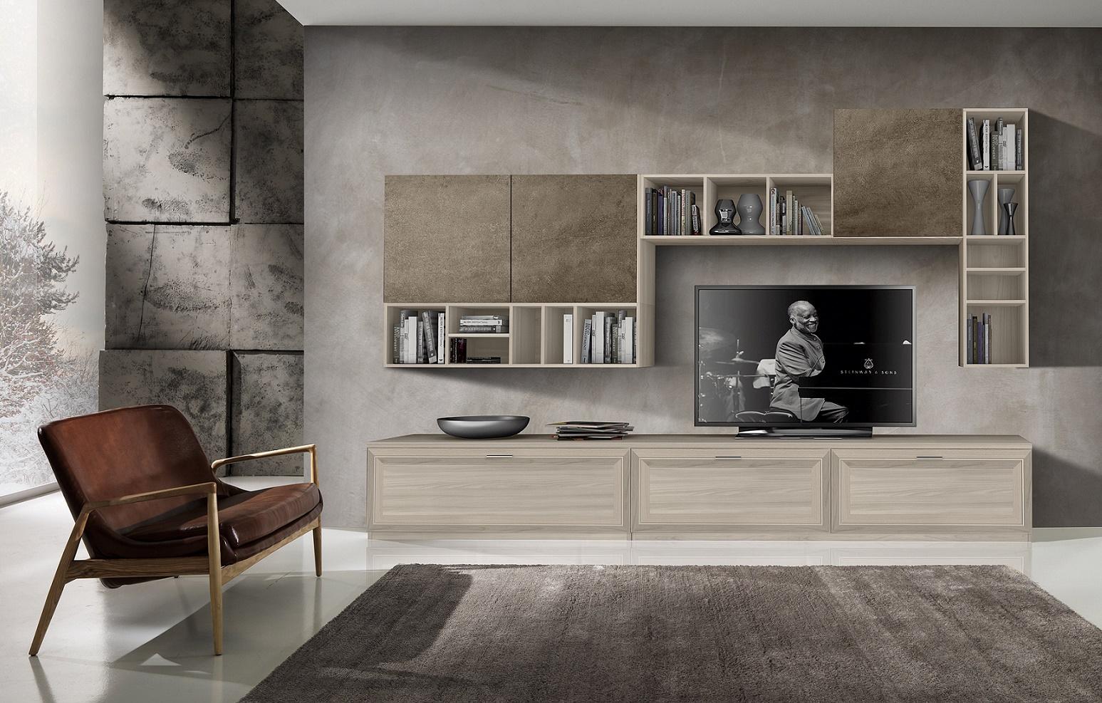 Parete soggiorno contemporaneo arredook ardea for Soggiorni moderni in pietra