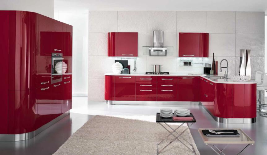 Cucina moderna lucida arredook ardea arredamento - Cucina moderna rossa ...
